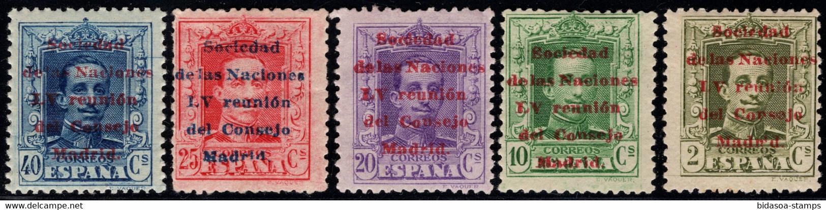 1929.MH.Ed:*456,458,460,461,463.Alfonso XIII.Sobrecarga Sociedad Naciones.5 Valores De La Serie Con Fijasellos - Neufs