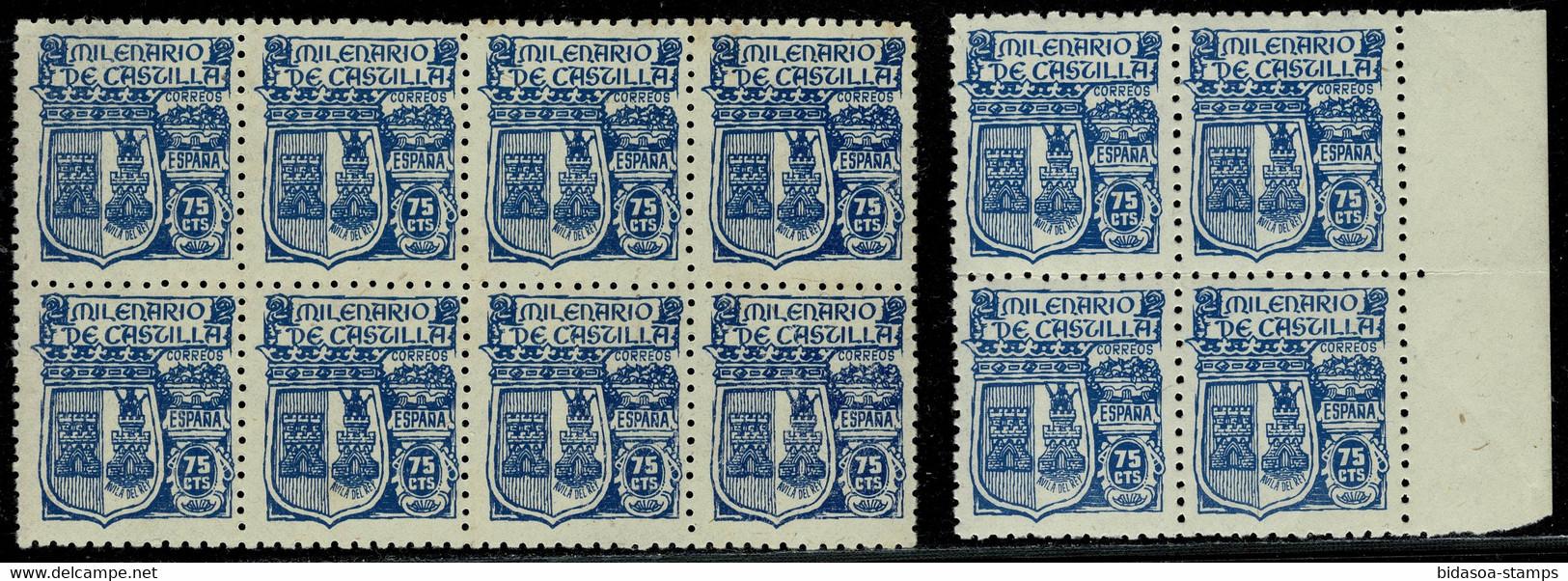 1944.MNH.Ed:**976(12).Milenario De Castilla.75 Cts Azul.2 Bloques Con 12 Sellos En Total.Regular Conservación - 1931-50 Ungebraucht