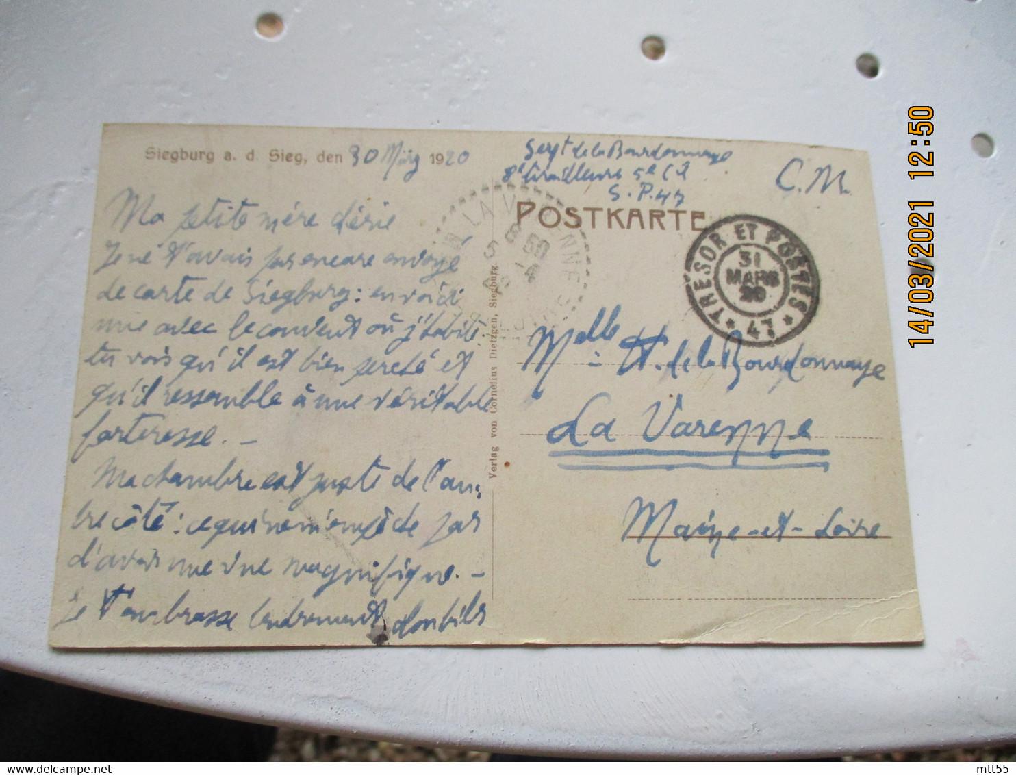 Occupation Allemagne Tresor Et Postes 47  Sur Carte Siegburg Guerre 14.18 - Oorlog 1914-18