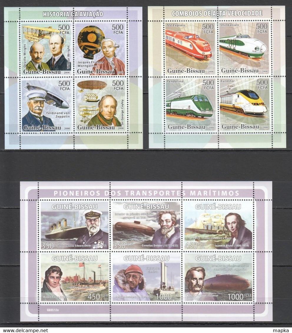 H021 2006,2008 GUINE-BISSAU TRANSPORT AVIATION ZEPPELINS SHIPS TRAINS HISTORY 3KB MNH - Airplanes