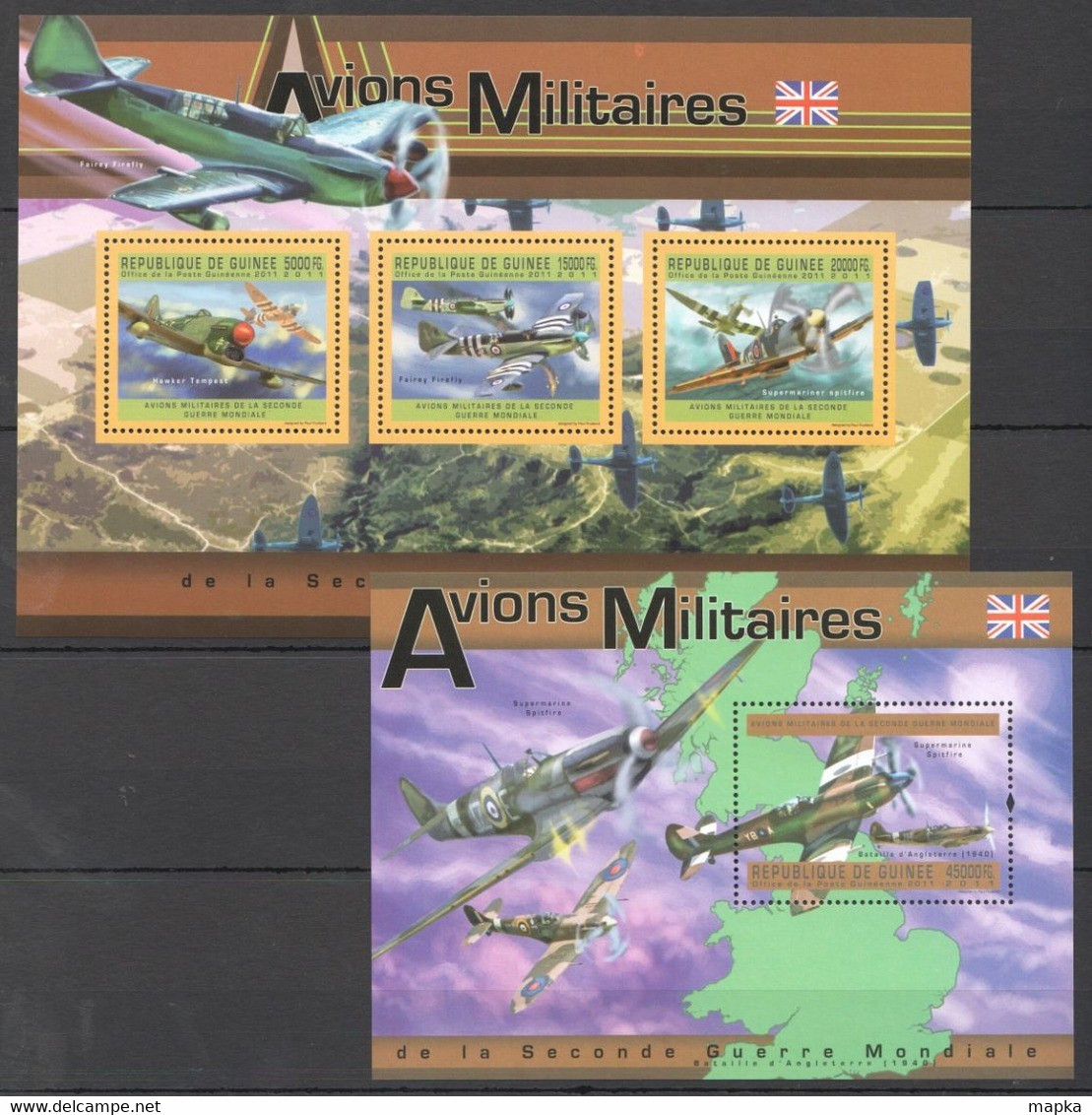 Z401 2011 GUINEE GUINEA AVIATION AVIONS MILITAIRES WWII GREAT BRITAIN 1KB+1BL MNH - Airplanes