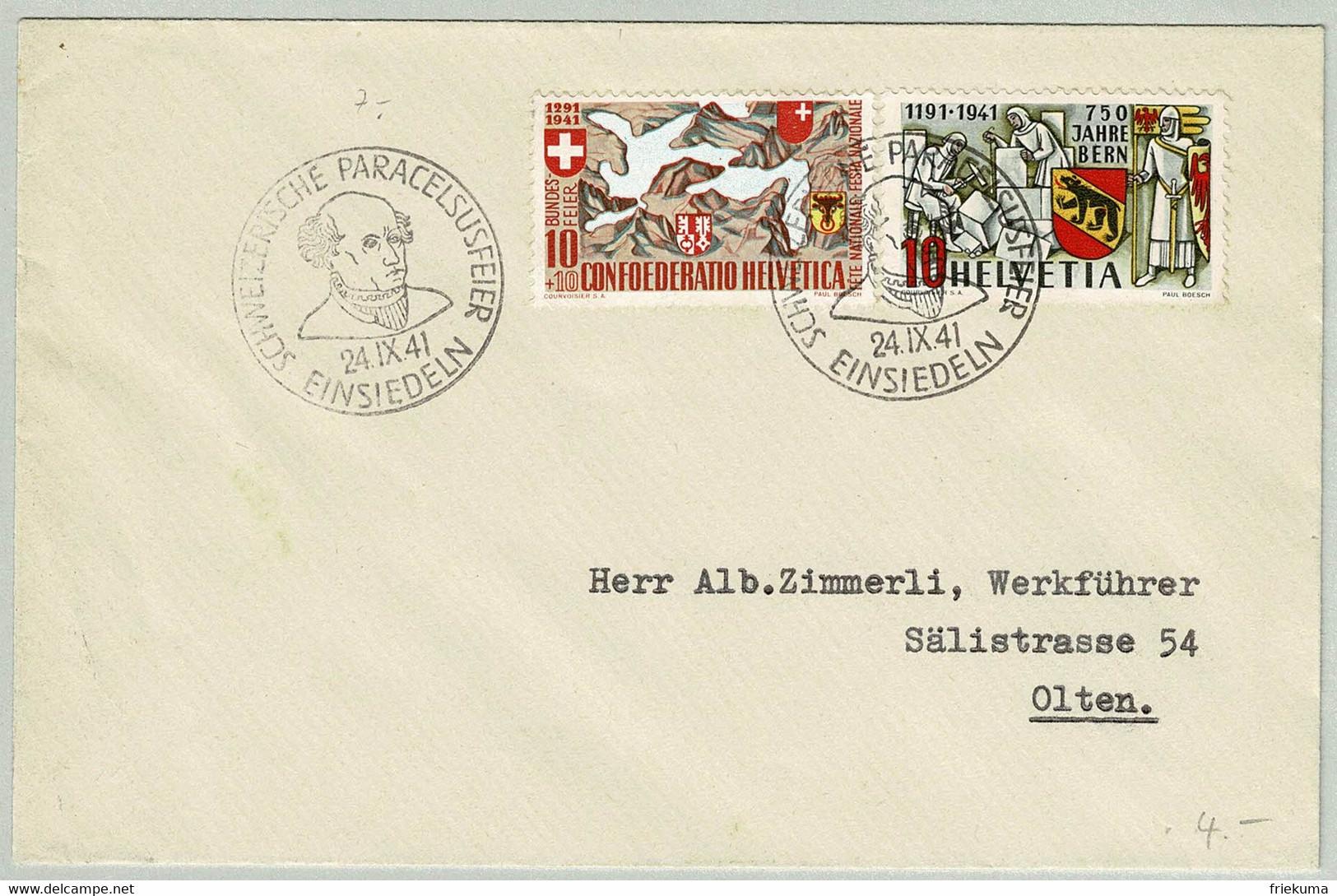 Schweiz / Helvetia 1941, Brief Paracelsus Feier Einsiedeln - Olten, Arzt / Médecin / Docteur, See / Lac / Sea - Unclassified
