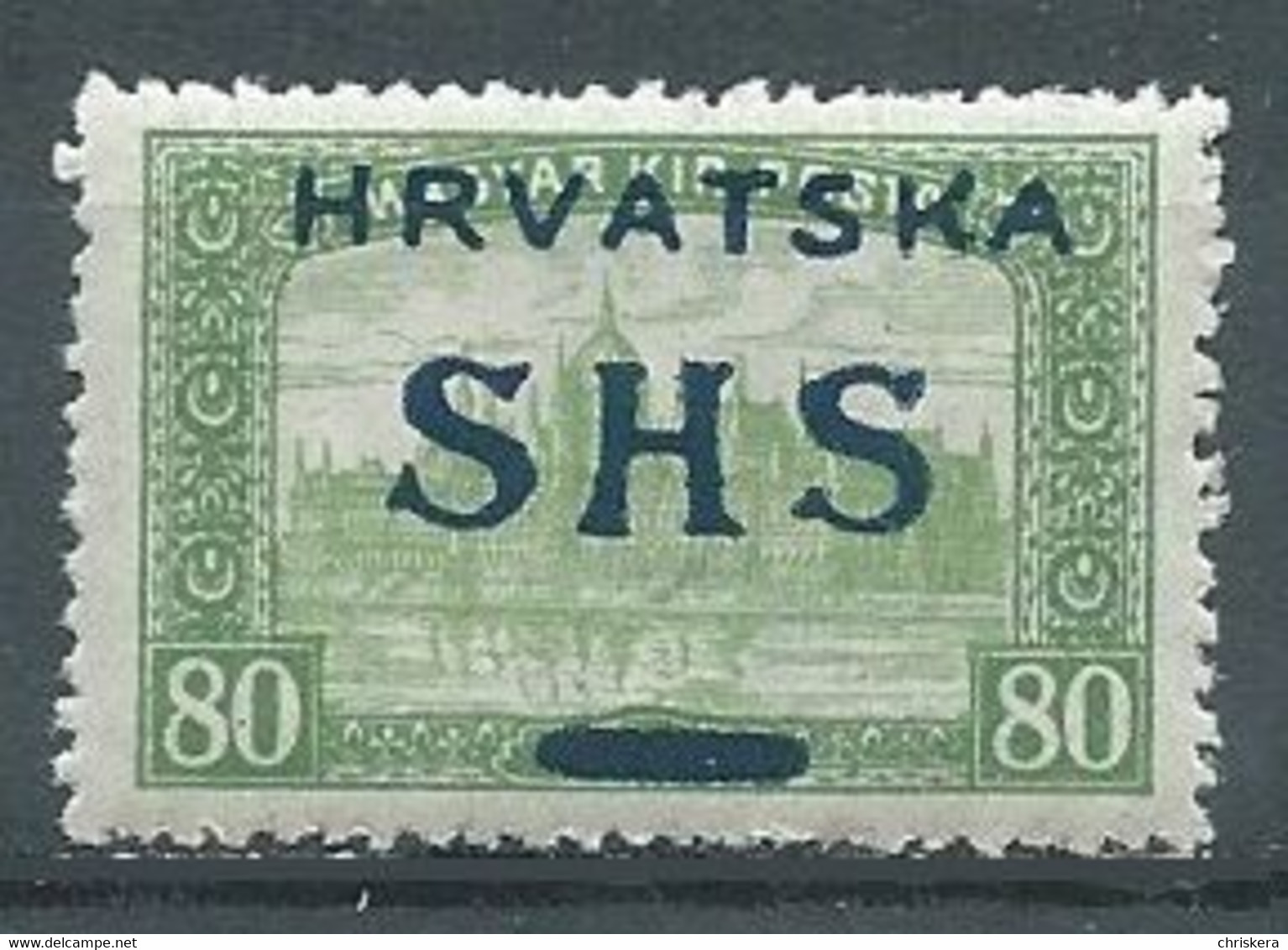 Yougoslavie YT N°21 Parlement De Budapest Surchargé Hrvatska SYHS Kruna Neuf ** - Ongebruikt