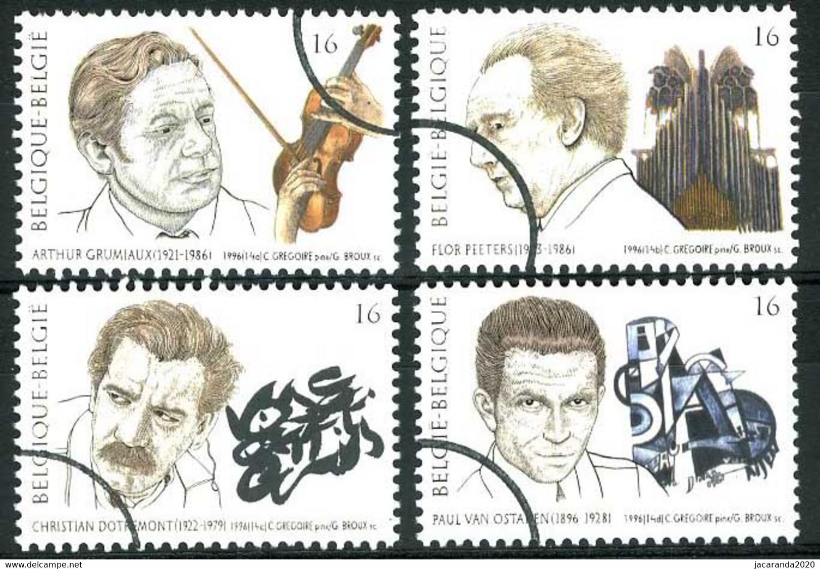 België 2666/69 SPEC - Muziek En Literatuur - Grumiaux - Dotremont - PERSSTEMPEL - Specimen - PRESSE - Gebruikt