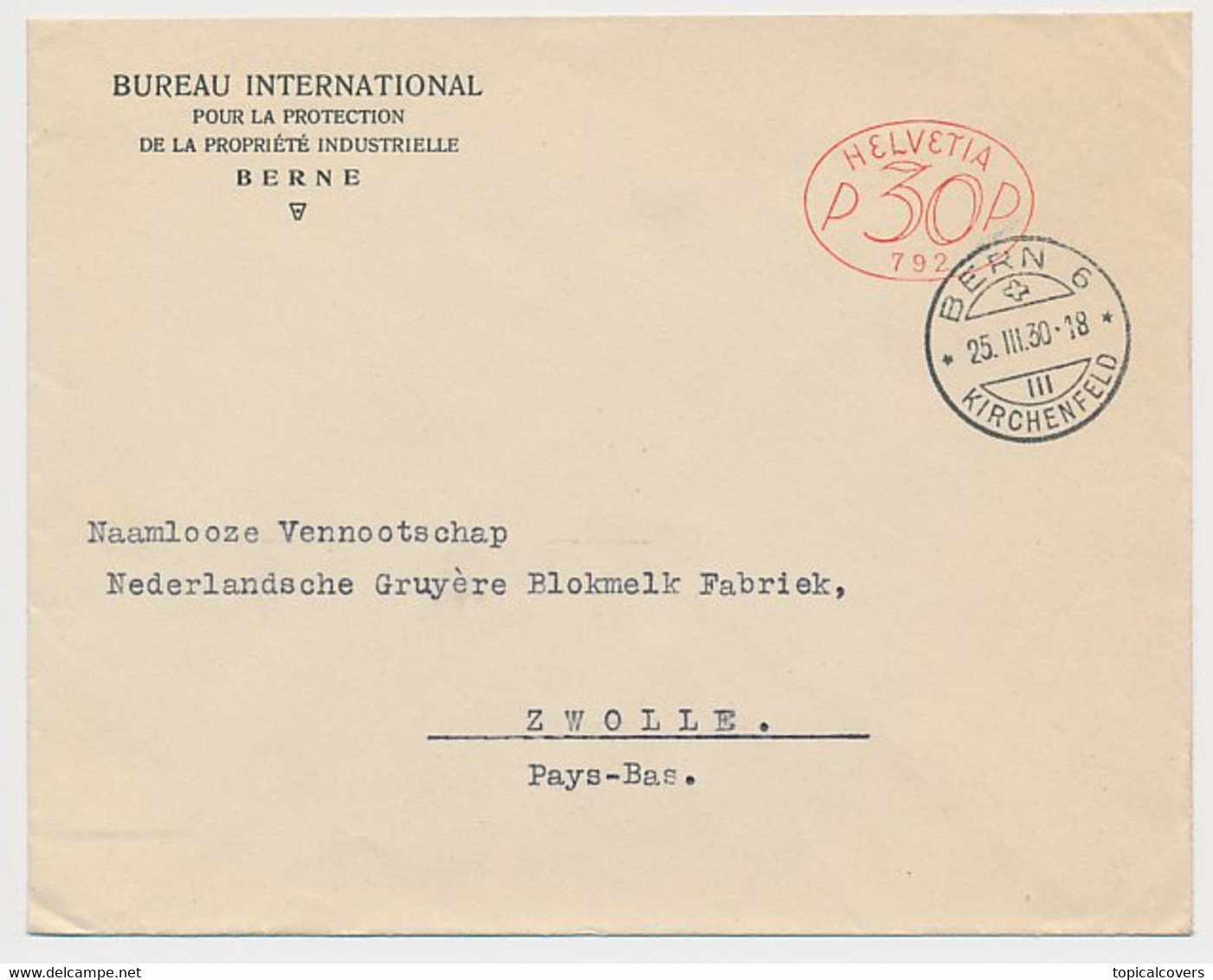 Meter Cover Switzerland 1930 International Bureau For The Protection Of Industrial Property - Unclassified