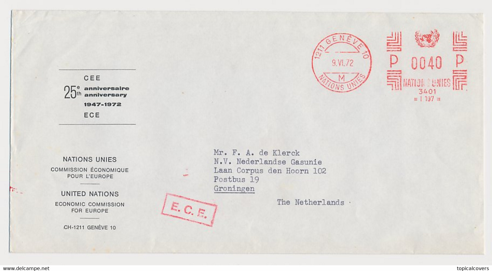 Meter Cover Switzerland 1972 United Nations - 25 Year ECE - Economic Commission For Europe - UNO