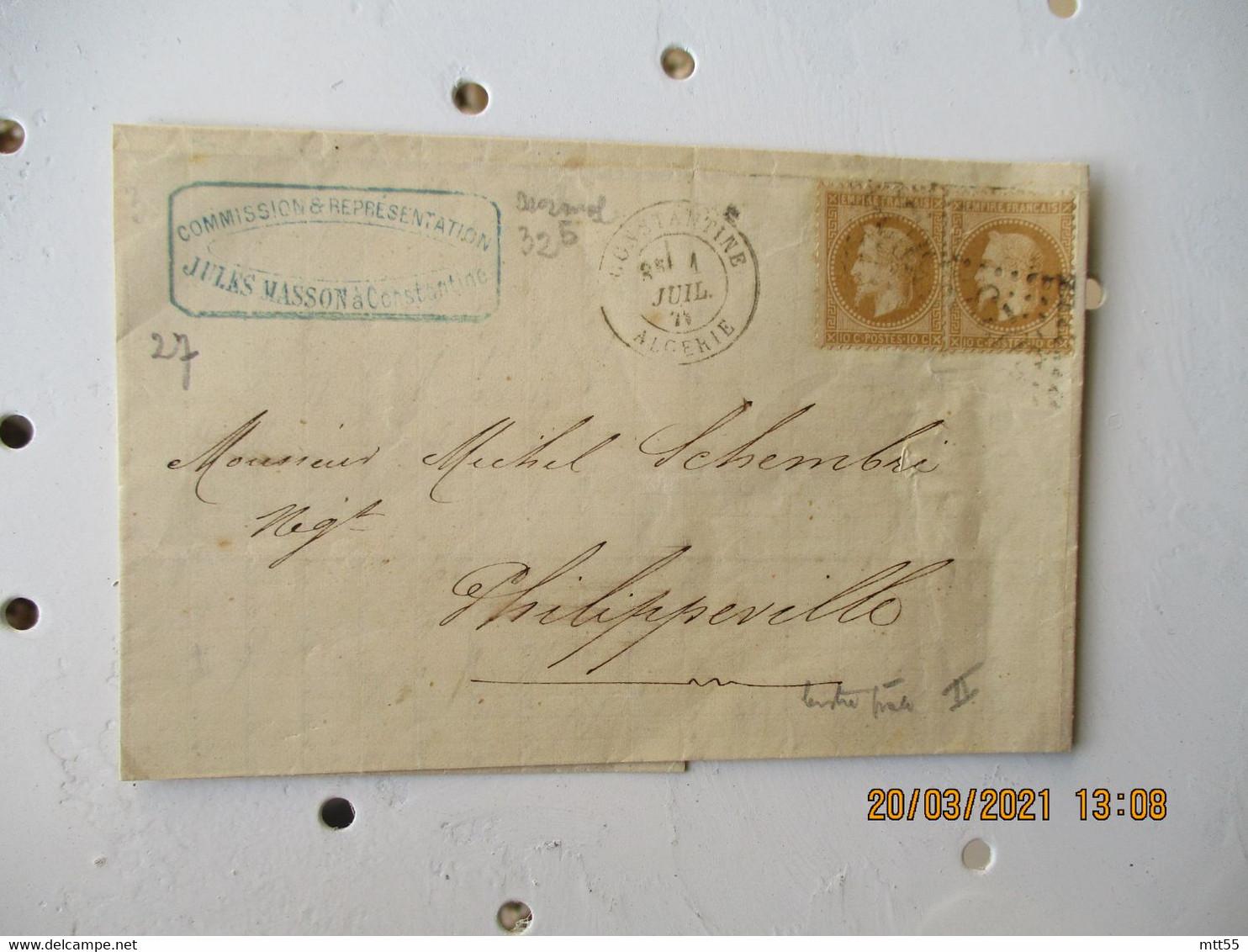 Constantine Gros Chiffre 5023 Obliteration Lettre Pour Phillippeville 2 Timbre Empire 15 C Marron - 1877-1920: Semi-Moderne