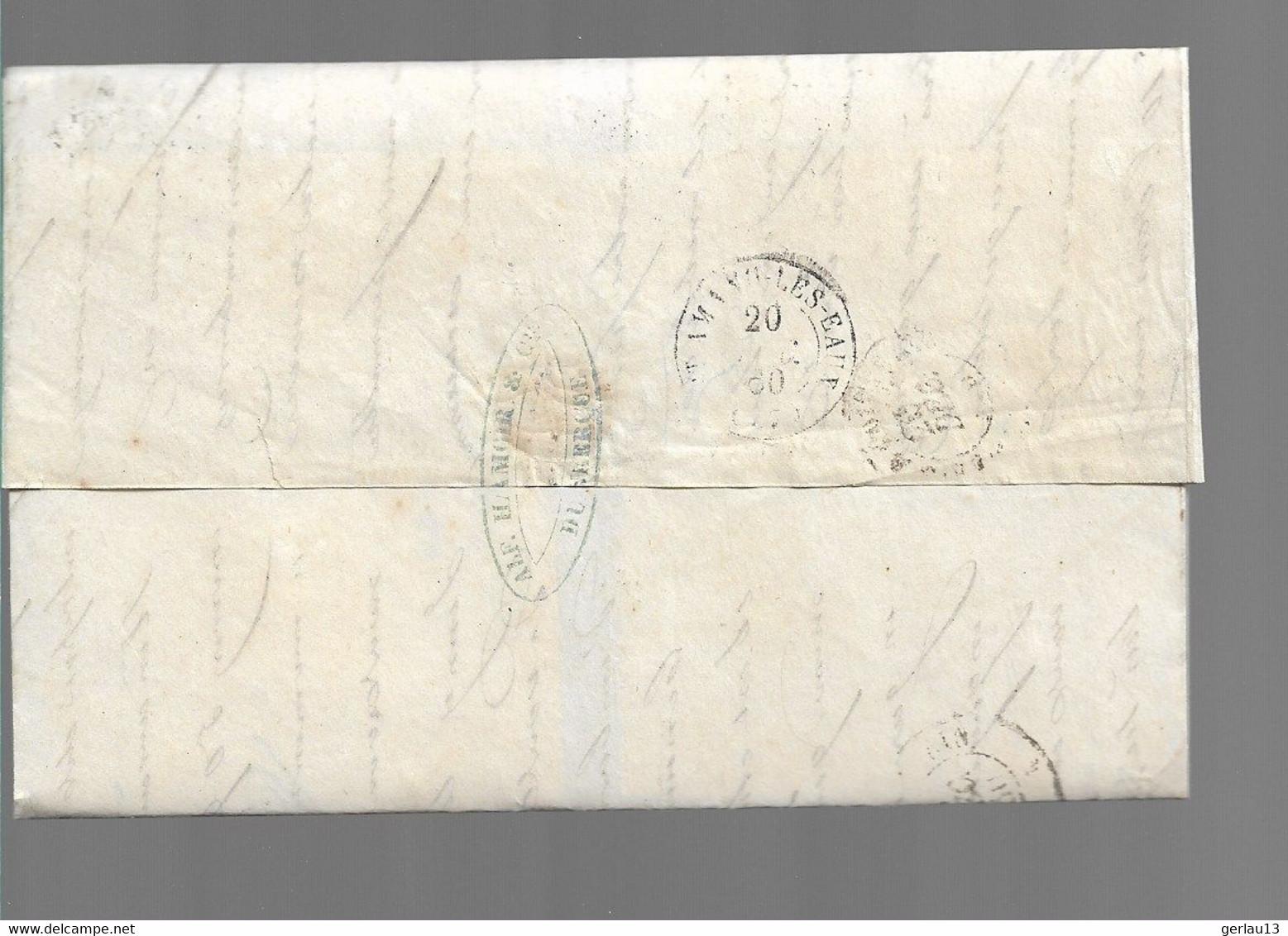 LETTRE CLASSIQUE  AFFRANCHIE AVEC BLEU     SCANS RECTO ET VERSO - 1849-1876: Klassik