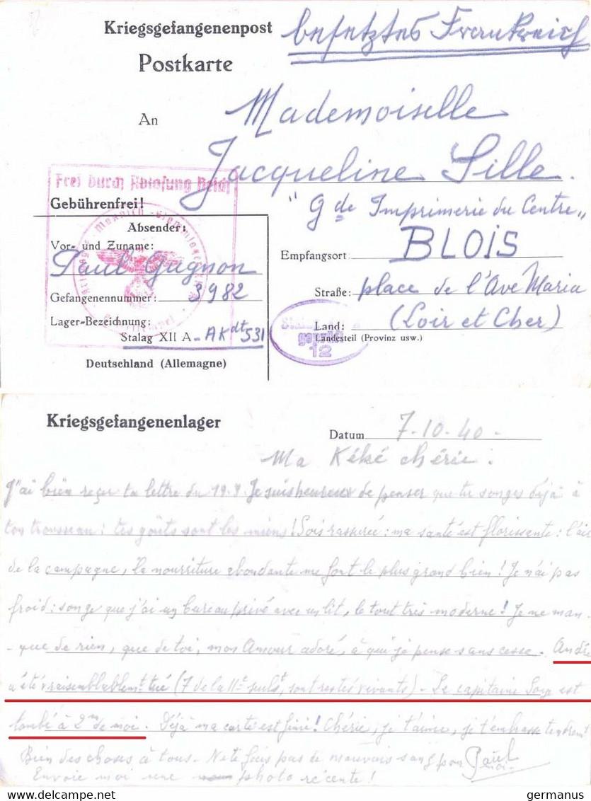 GUERRE 39-45 CP PRISONNIER DE GUERRE STALAG XII A /12 LIMBURG AN DER LAHN Le 7-10-1940  *** Voir Description ** - Guerra De 1939-45