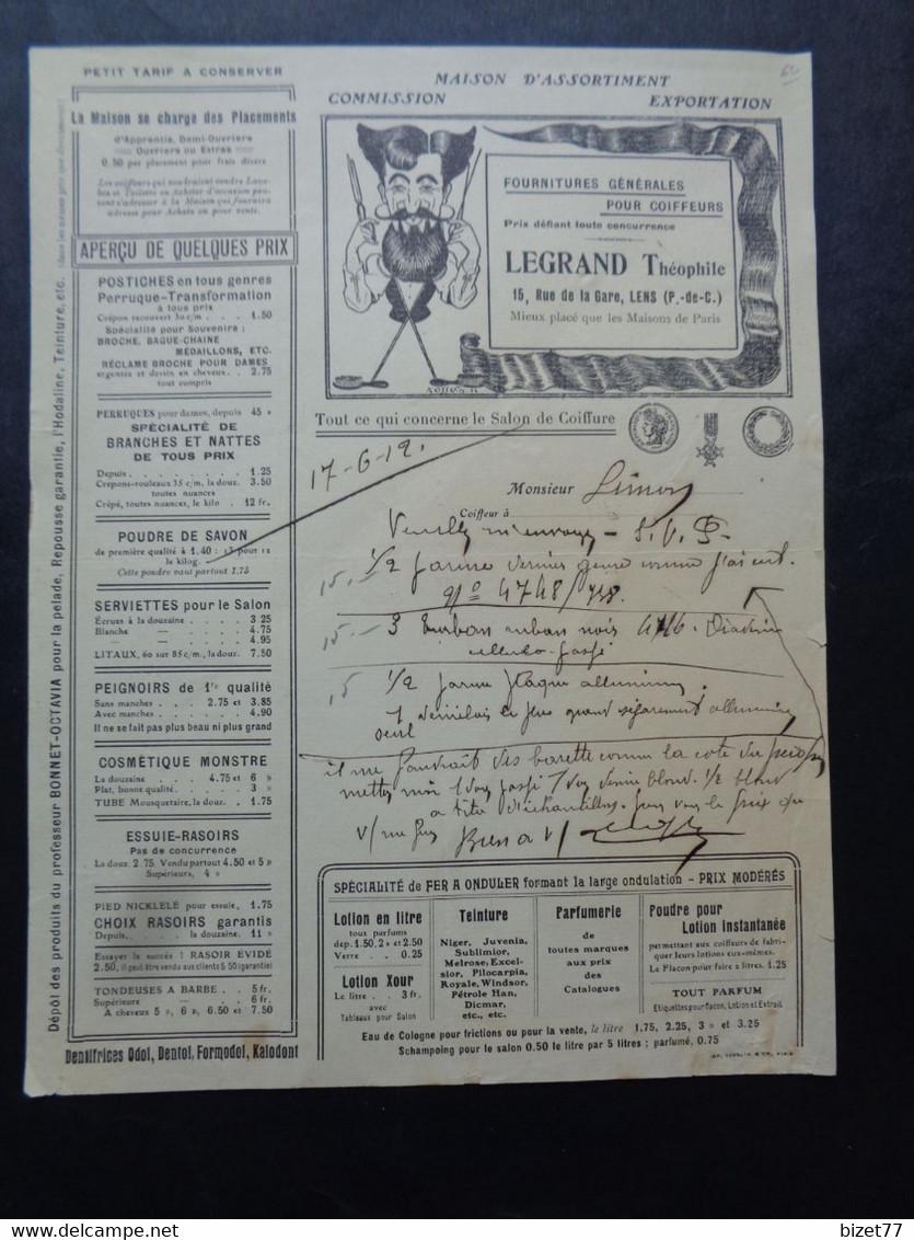 FACTURE TARIF - 62 - DEPARTEMENT DU PAS DE CALAIS - LENS 1912 - FOURNITURES POUR COIFFEURS : LEGRAND THEOPHILE - Zonder Classificatie