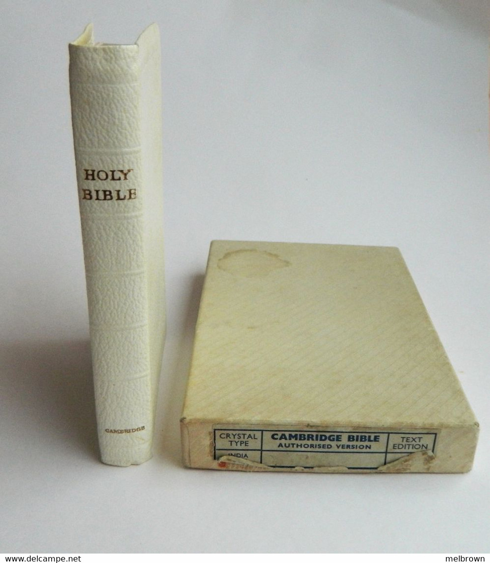 Vintage CAMBRIDGE BIBLE. Small White Edition. Gold-Edged Pages. Box Included. - Christianity, Bibles