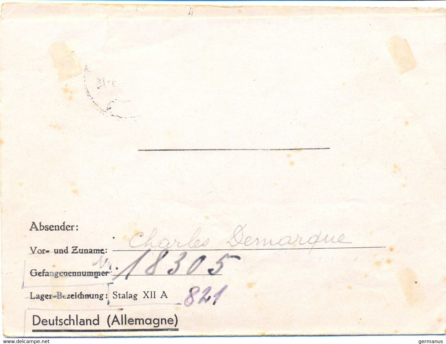 GUERRE 39-45 Du STALAG XII A / 1 LIMBURG AN DER LAHN Du 1-9-40, A été Fait Prisonnier Le 21 Juin Prés De NANCY - Guerra De 1939-45