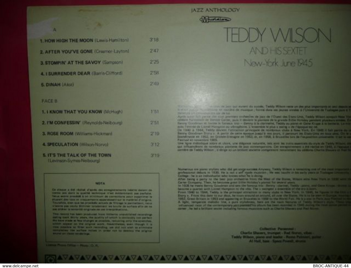 LP33 N°8105 - TEDDY WILSON SEXTET - 30 JA 5191 - Jazz