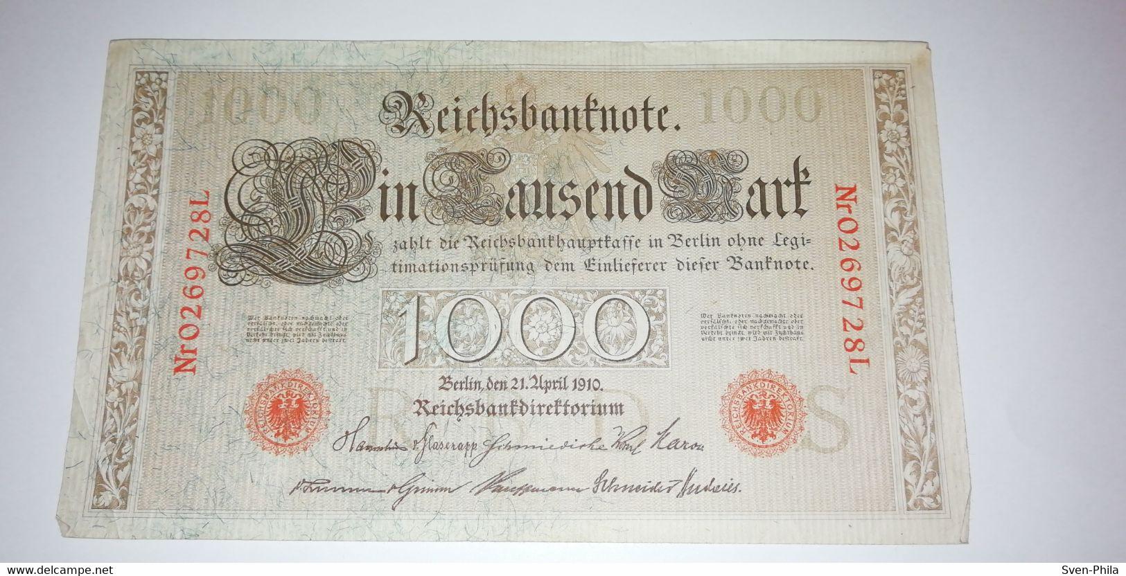 Banknote, Deutschland, Deutsches Reich, Geldschein,Banknote - 1000 Mark