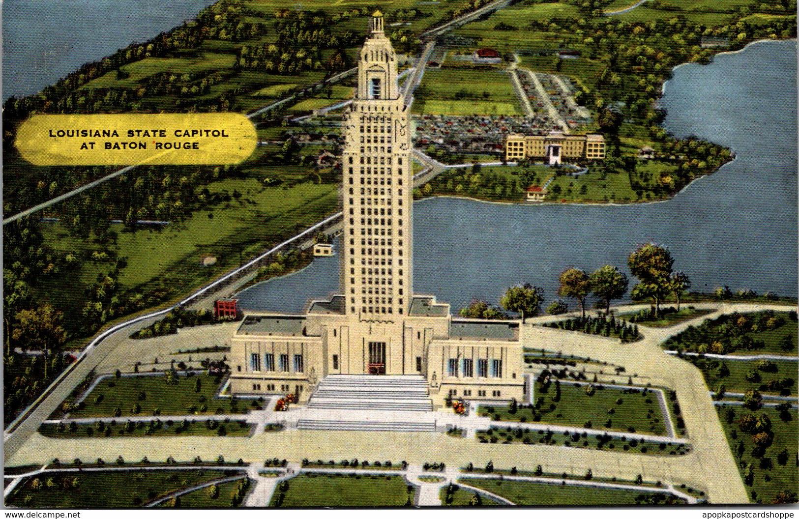 Louisiana Baton Rouge Aerial View State Capitol Building - Baton Rouge