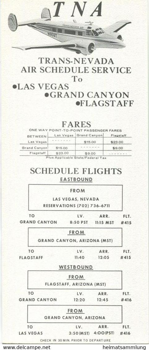 USA - TNA - Trans-Nevada Air - Grand Canyon - Faltblatt Mit 4 Abbildungen - Beiliegend Flugplan - World