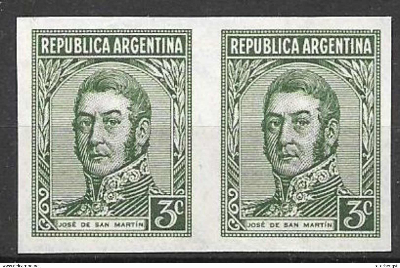 Argentina (no Hinge) IMPERF Pair (red Muestra Cancel On Back) - Unused Stamps