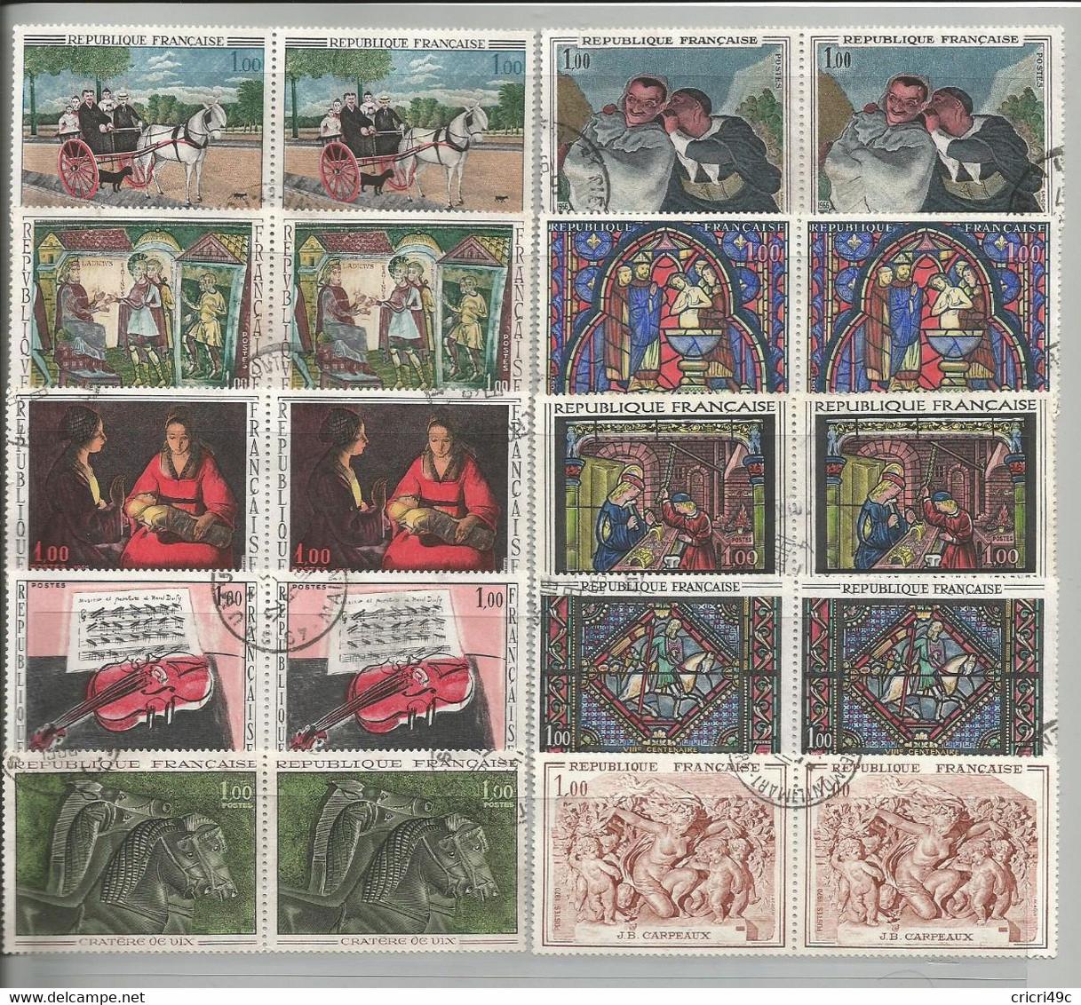 Timbres Oblitérés, Tableaux Ou Oeuvres D'art De 1964 à 1970 - Colecciones (sin álbumes)