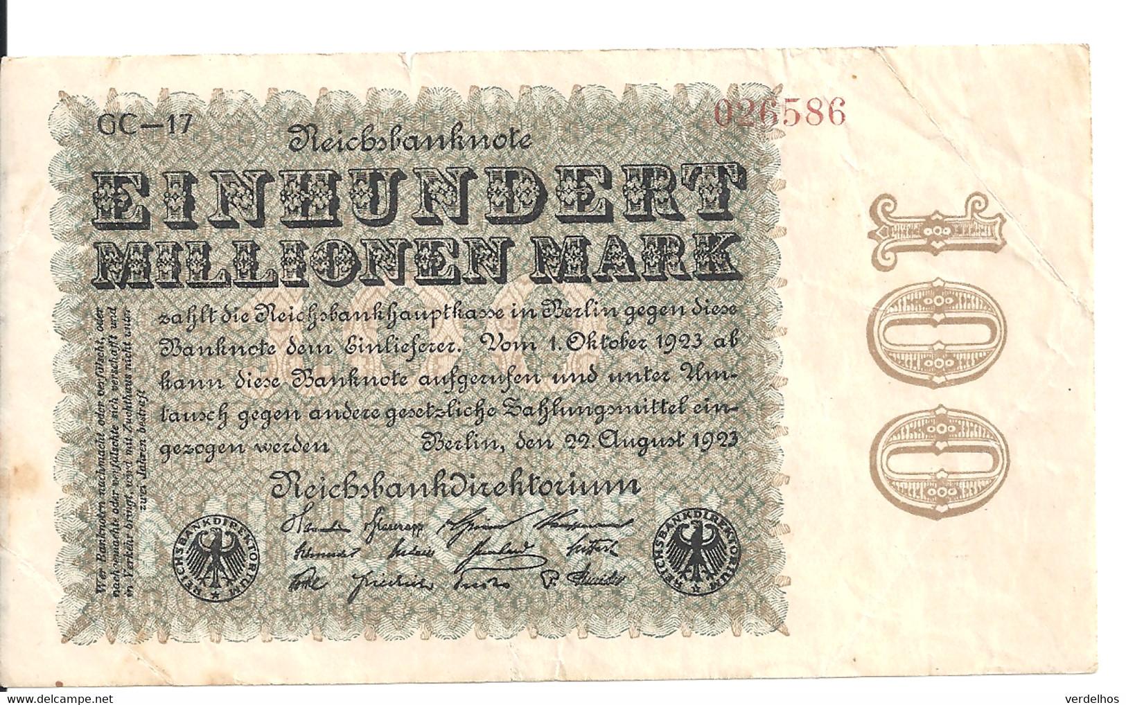 ALLEMAGNE 100 MO MARK 1923 VF P 107 - 100 Miljoen Mark