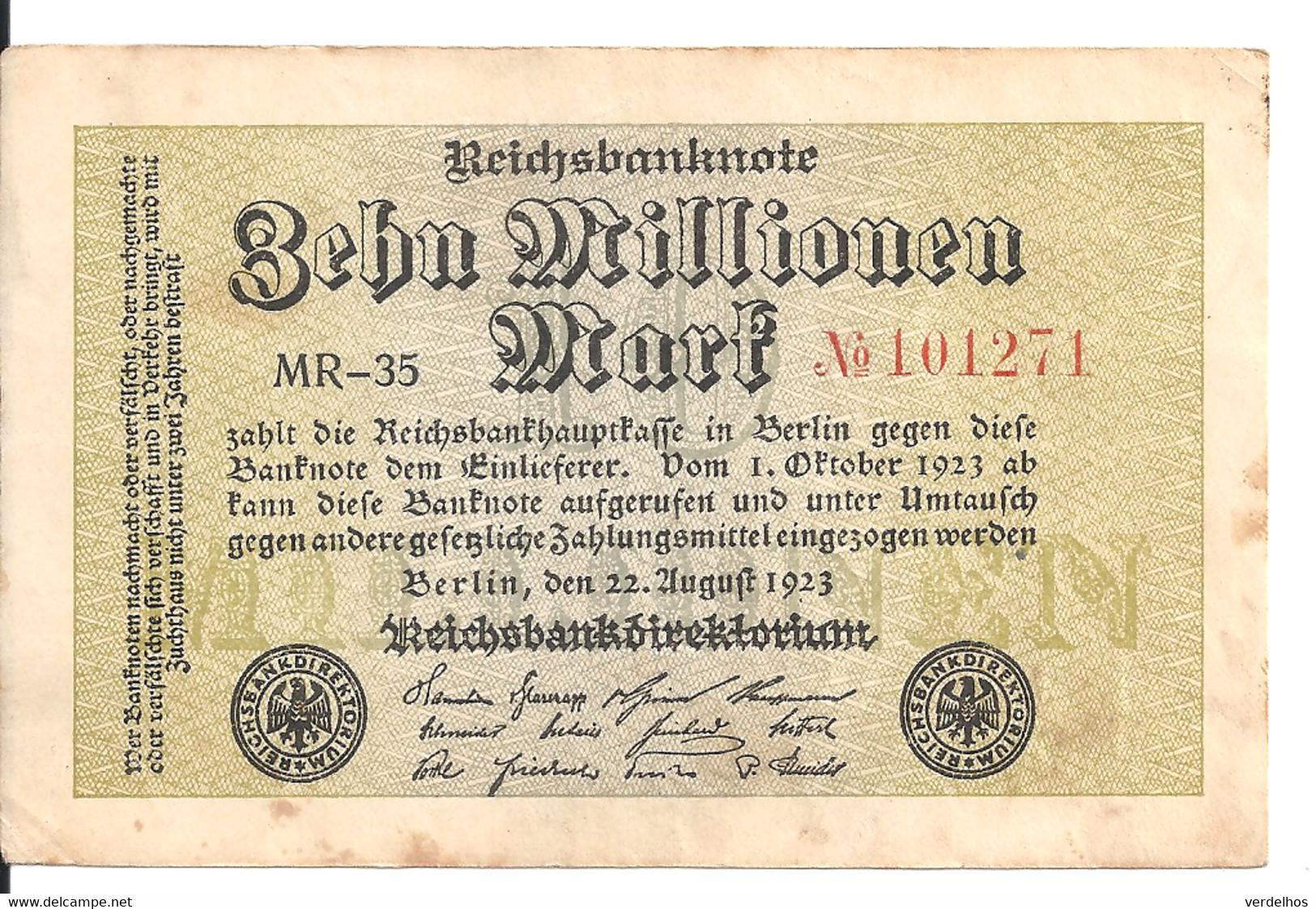 ALLEMAGNE 10 MLLIONEN MARK 1923 VF P 106 - 10 Miljoen Mark