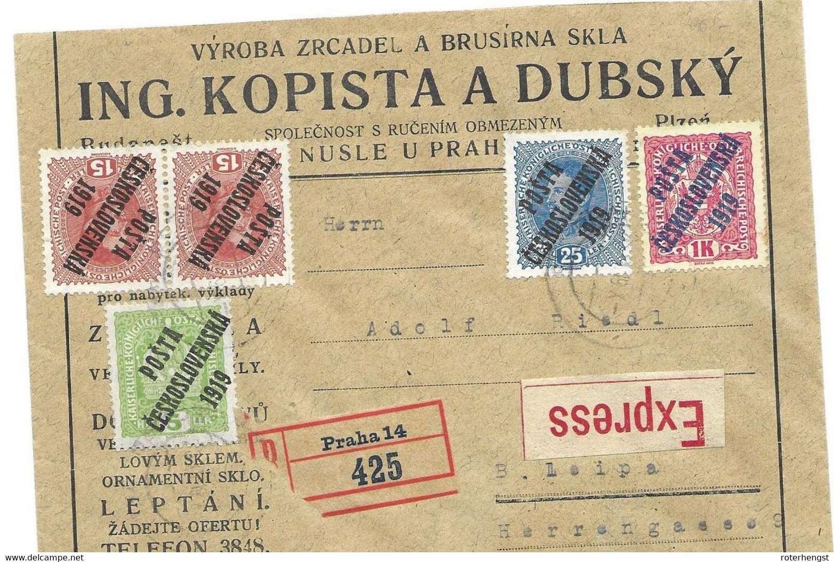 Czechoslovakia Circulated Express  R-letter (RARE) 1919 From Prague Praha - Covers & Documents