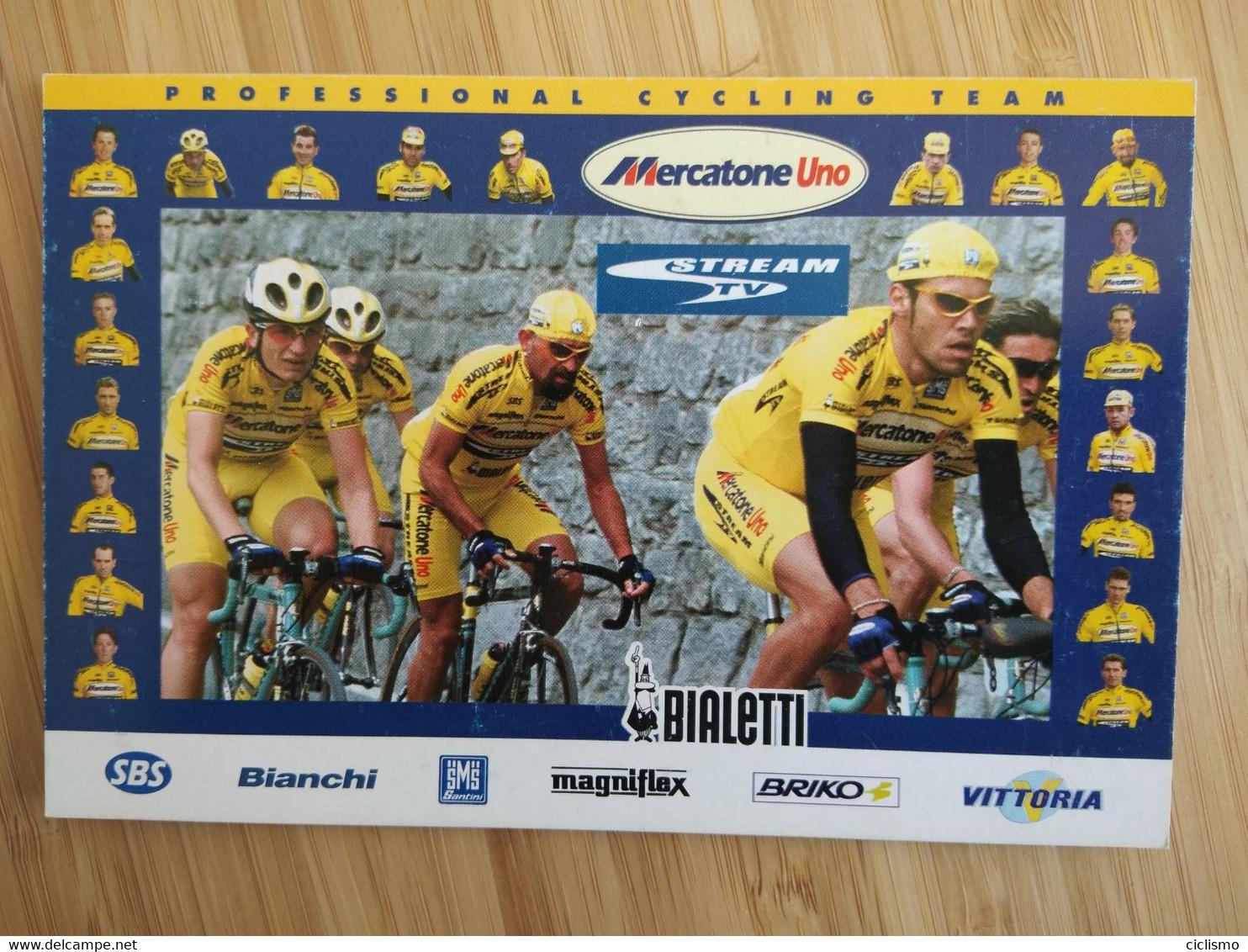 Cyclisme - Carte Publicitaire MERCATONE UNO BIALETTI  : L'équipe Et PANTANI - Cycling