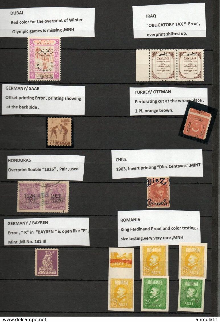 Collection Of Error Stamps , From Germany SAAR,BAYREN,HONDURAS,TURKEY (OTTMAN),IRAK, ROMANIA,DUBAI & CHILE. - Collections (without Album)