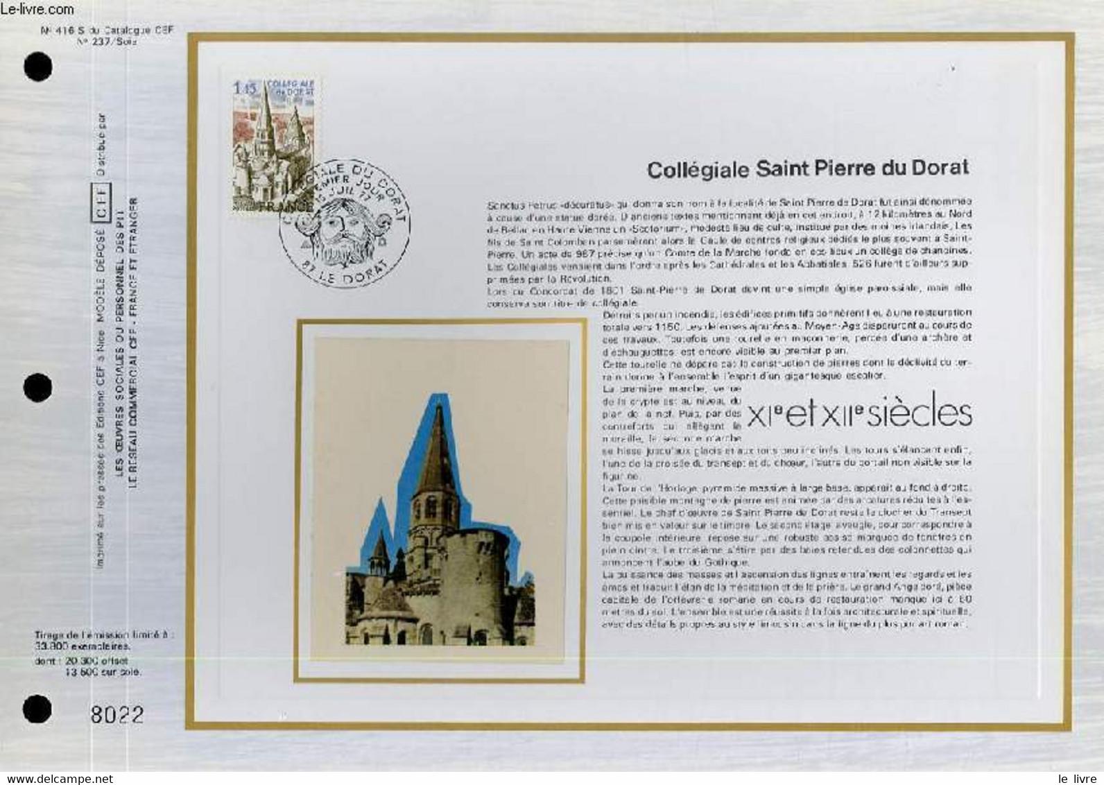FEUILLET ARTISTIQUE PHILATELIQUE SUR SOIE - CEF - COLLEGIALE SAINT PIERRE DU DORAT - 11° ET 12° SIECLE - N° 416S - N°237 - Lettres & Documents
