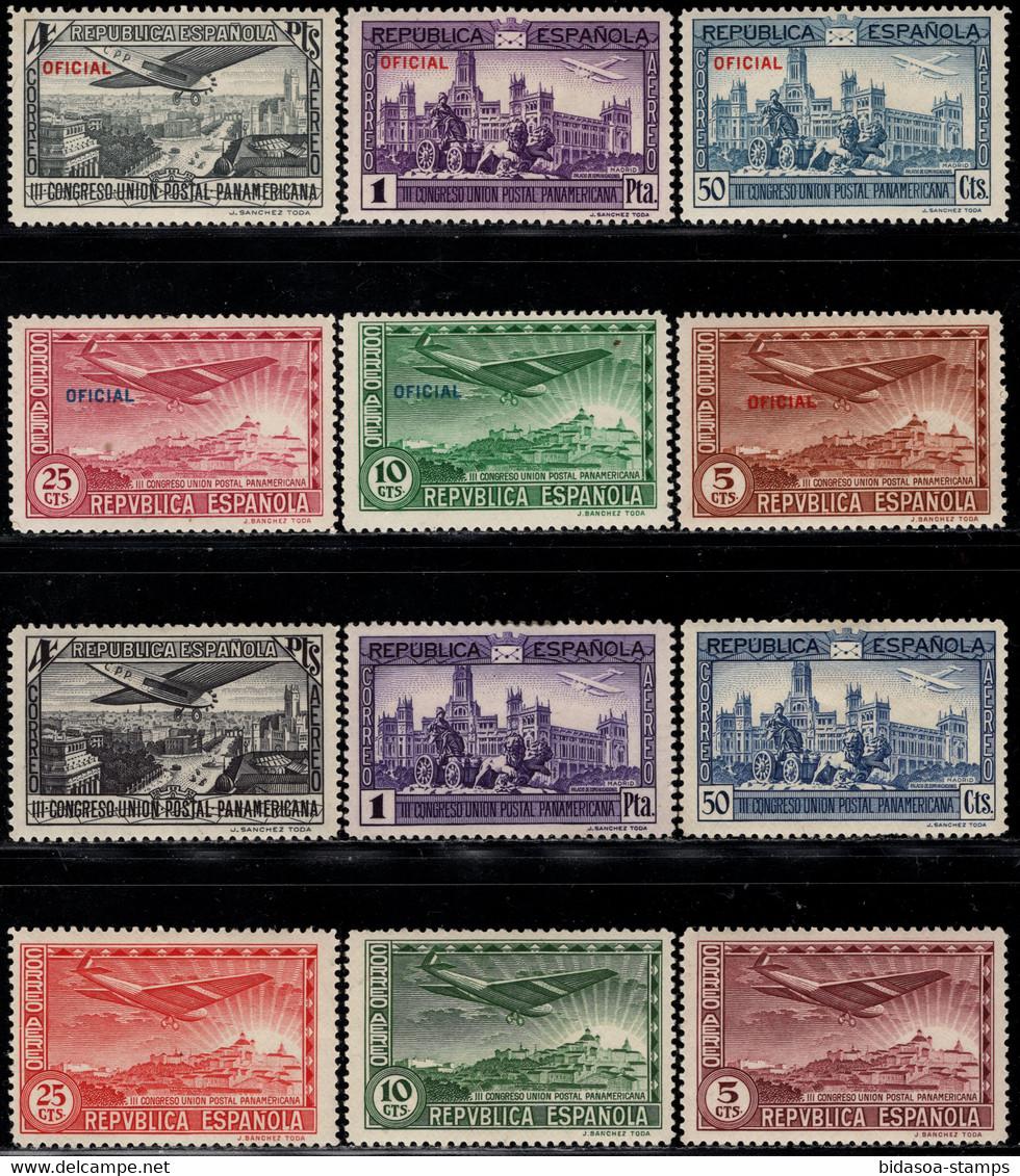 1931.MH.Ed:*614/619,630/635.Panamericana.2 Aéreas Series Con Y Sin Sobrecarga - 1931-50 Neufs
