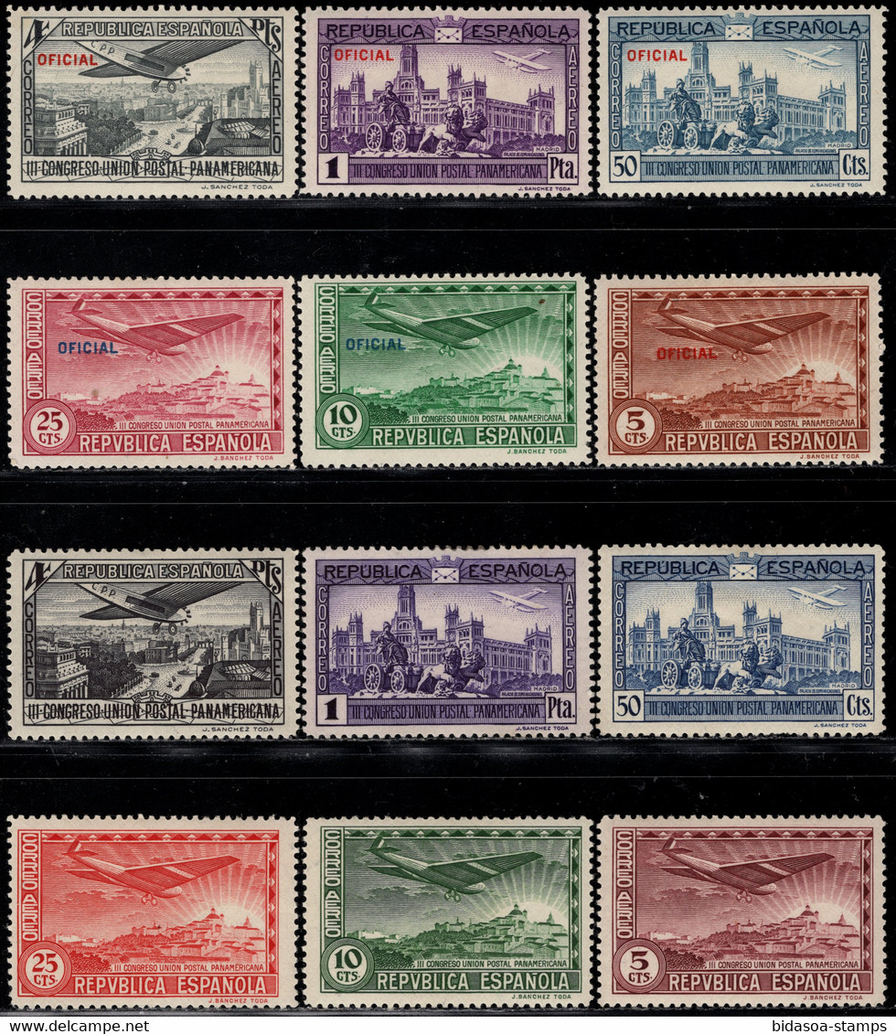 1931.MH.Ed:*614/619,630/635.Panamericana.2 Aéreas Series Con Y Sin Sobrecarga - Ungebraucht