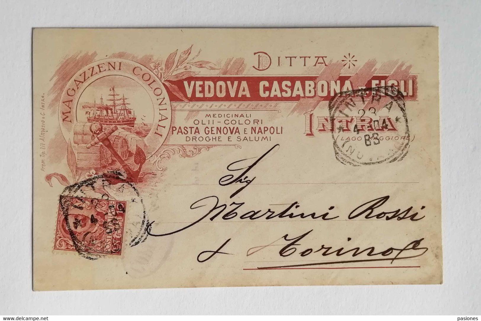 Cartolina Pubblicitaria Ditta Vedova Casabona & Figli Intra, Viaggiata 1904 - Publicidad