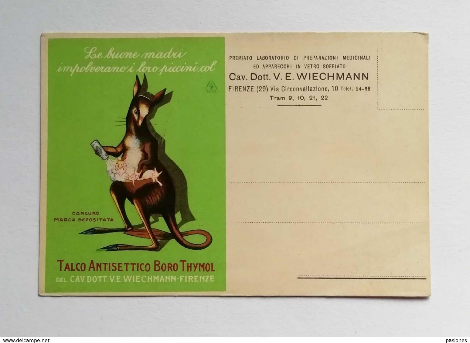"""Cartolina Pubblicitaria """"Talco Antisettico Boro Thymol"""" Del Cav.Dott. V.E. Wiechmann Firenze, Non Viaggiata - Publicidad"""