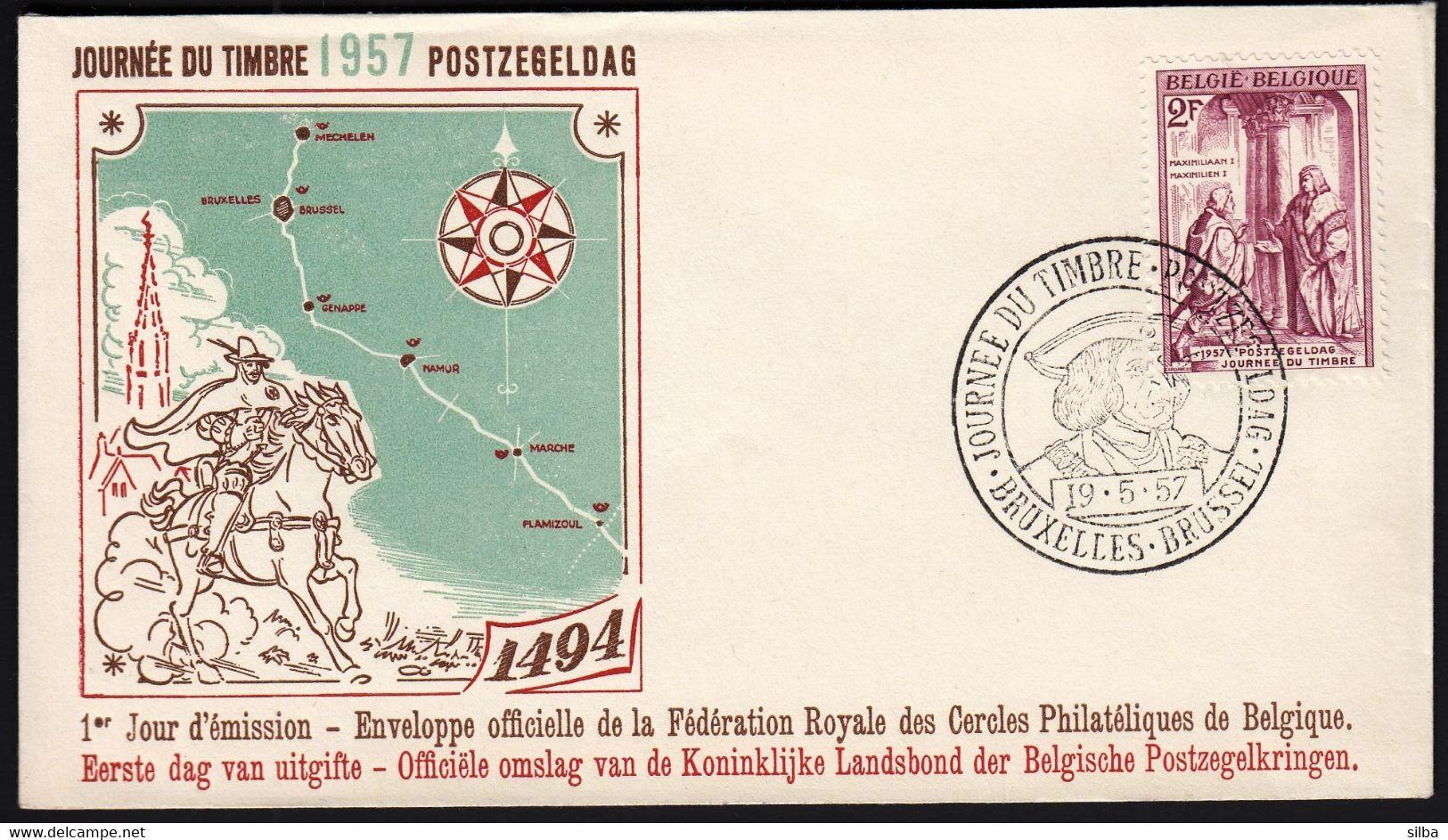 Belgium 1957 / Stamp's Day / Emperor Maximilian I Receiving Letter / FDC - Día Del Sello