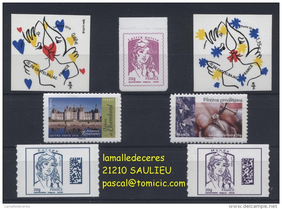ADHESIFS PRO & SPECIAUX ! ANNEE 2015 / 7 Valeurs . Lettre Suivie Et Datamatrix En Forte Hausse ! - Adhesive Stamps