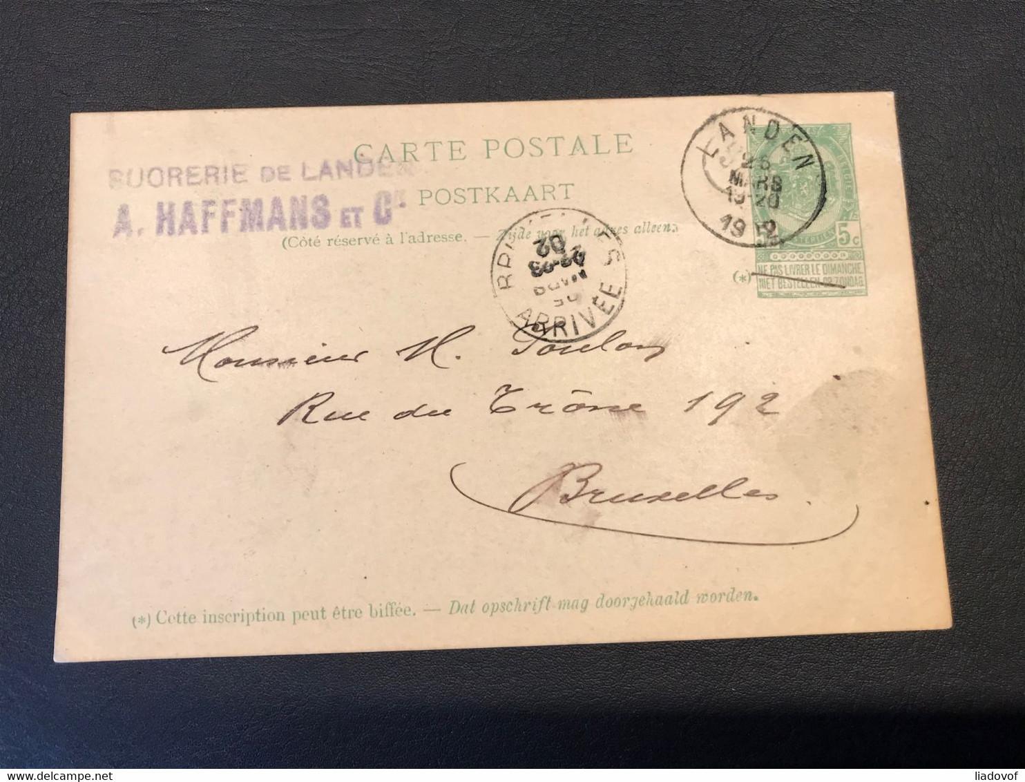Postkaart Wapenschild 5c - Landen - Bruxelles 28 Mars 1902 - Cartoline [1871-09]