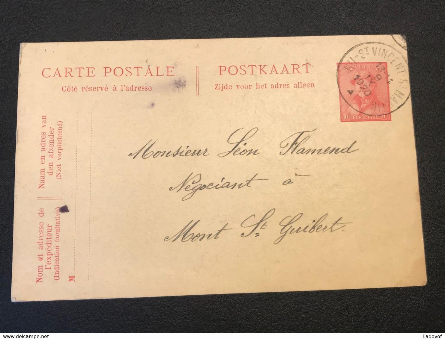 Postkaart Uitgifte Albert I Helm 10c - Nil St Vincent St Martin - Mont St Guibert 9 IX 1920 - Cartoline [1909-34]