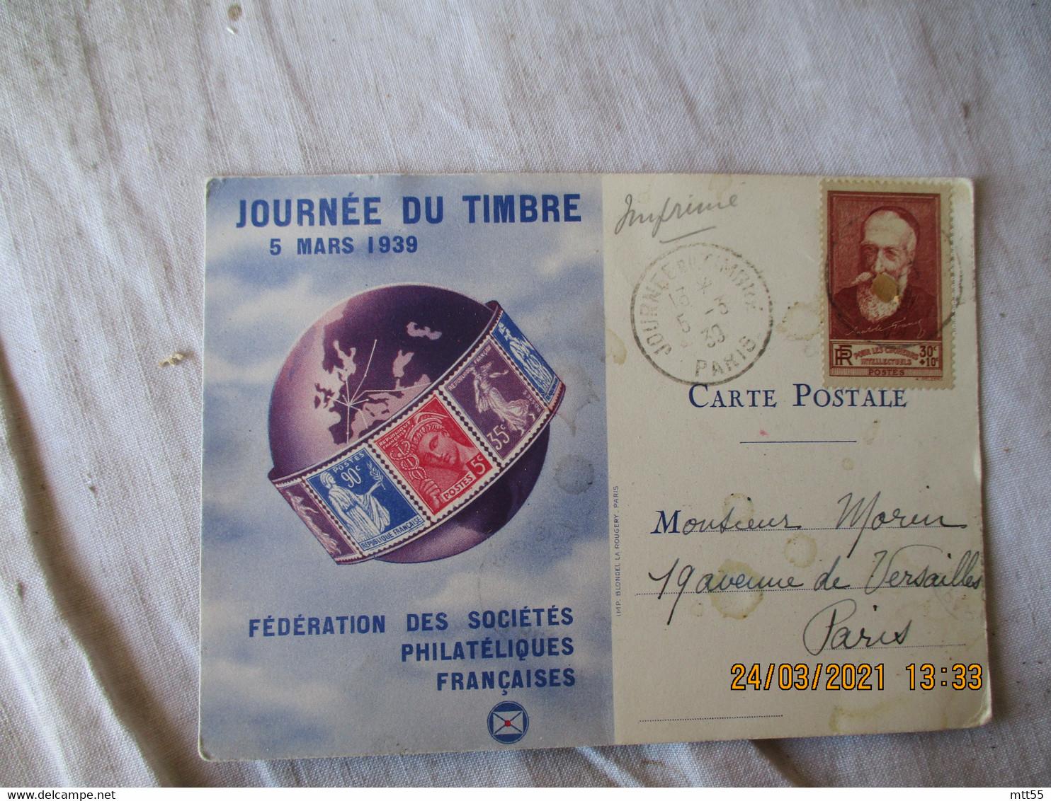 Timbre Anatole France 30 Plus 10 C Seul Sur Lettre Carte Federale  Journee Du Timbre 1939 - 1921-1960: Moderne