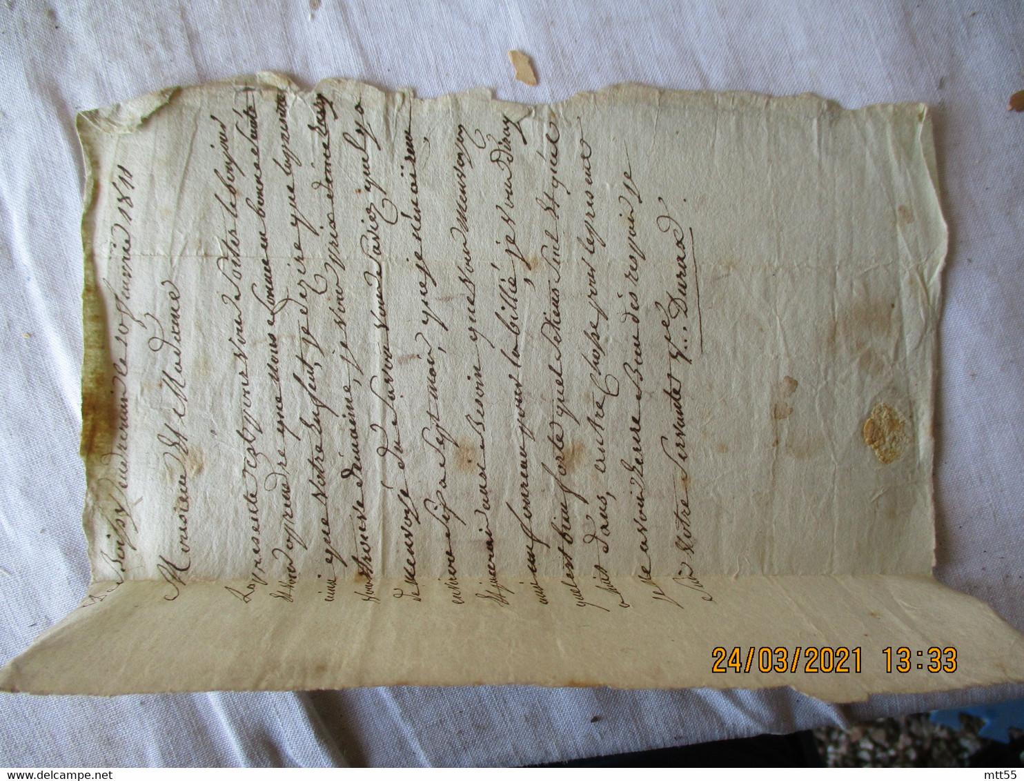 Lettre 1811 Lettre Taxee Manuscrite  Cachet A Dare Rouge 12 Janvier 1811 - 1801-1848: Vorläufer XIX