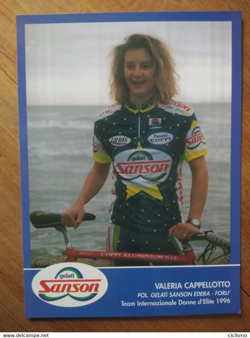 Cyclisme - Carte Publicitaire GELATI SANSON EDERA  1996 : Valeria CAPELLOTTO - Wielrennen