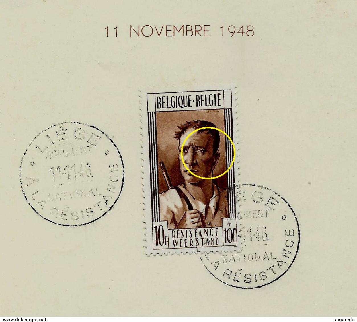 N° 783 - V1 - Balafre Sur La Joue  - état: Obl  Sur Feuillet Commémoratf Du 11/11/48 Liège - Plaatfouten (Catalogus OCB)