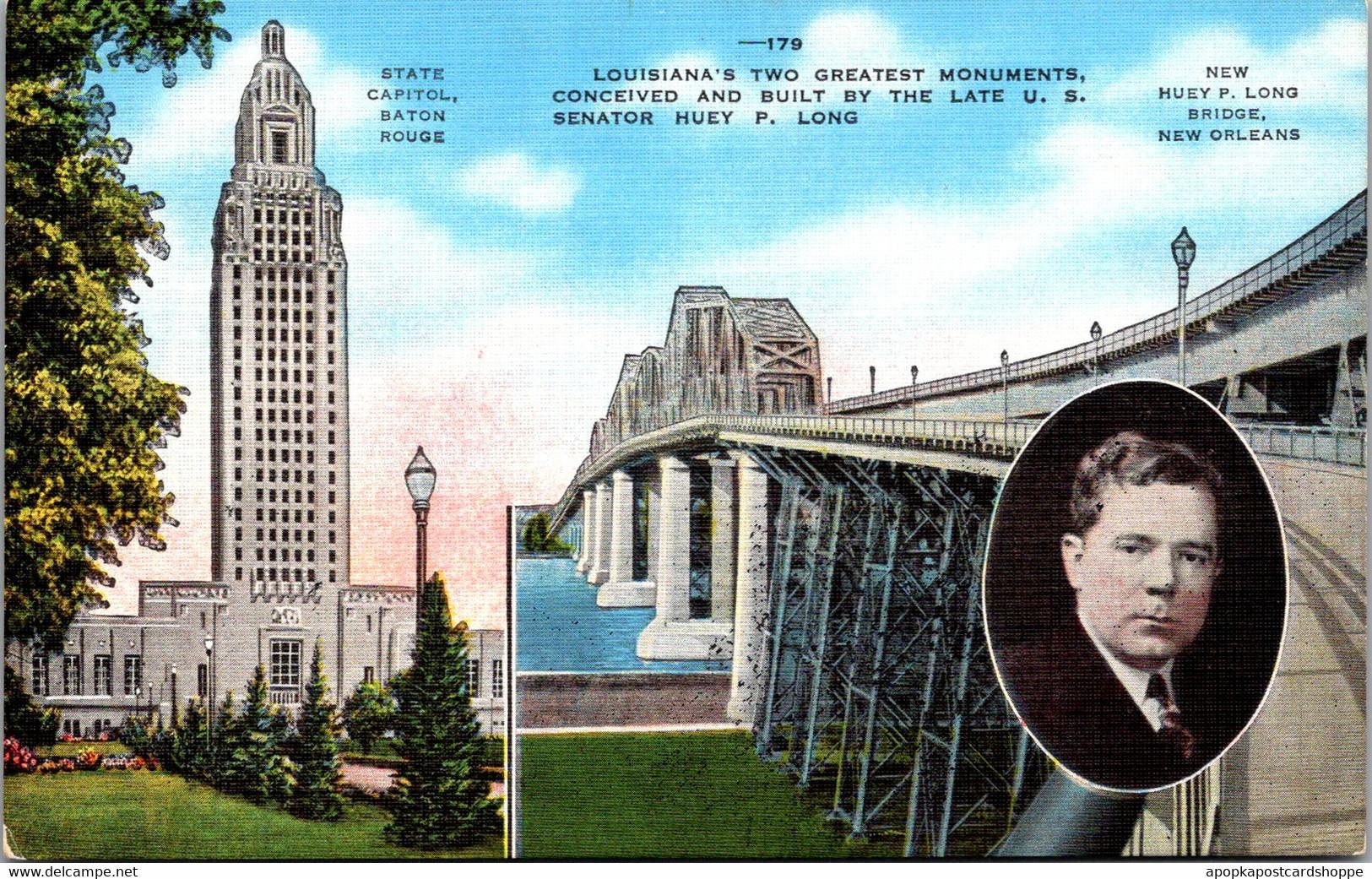 Louisiana Baton Rouge The State Capitol Building & Huey P Long Bridge New Orleans - Baton Rouge