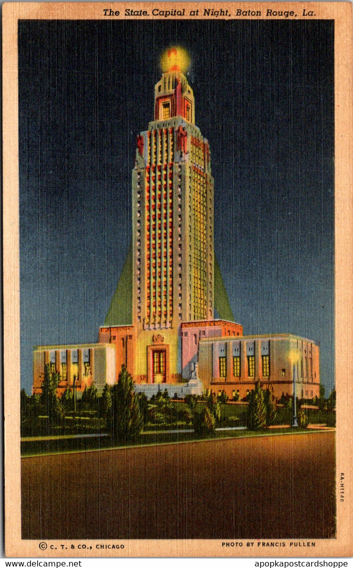 Louisiana Baton Rouge State Capitol Building At Night Curteich - Baton Rouge