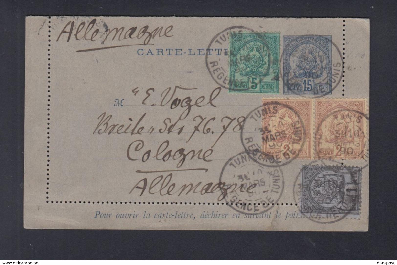 Frankreich France Tunisie Kartenbrief 1890 Tunis Nach Köln - Briefe U. Dokumente