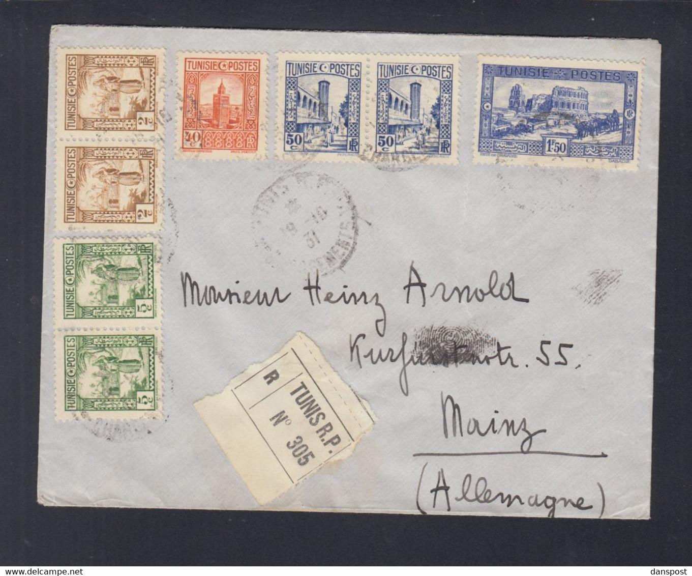 Frankreich France Tunisie R-Brief 1931 Tunis Nach Mainz - Briefe U. Dokumente