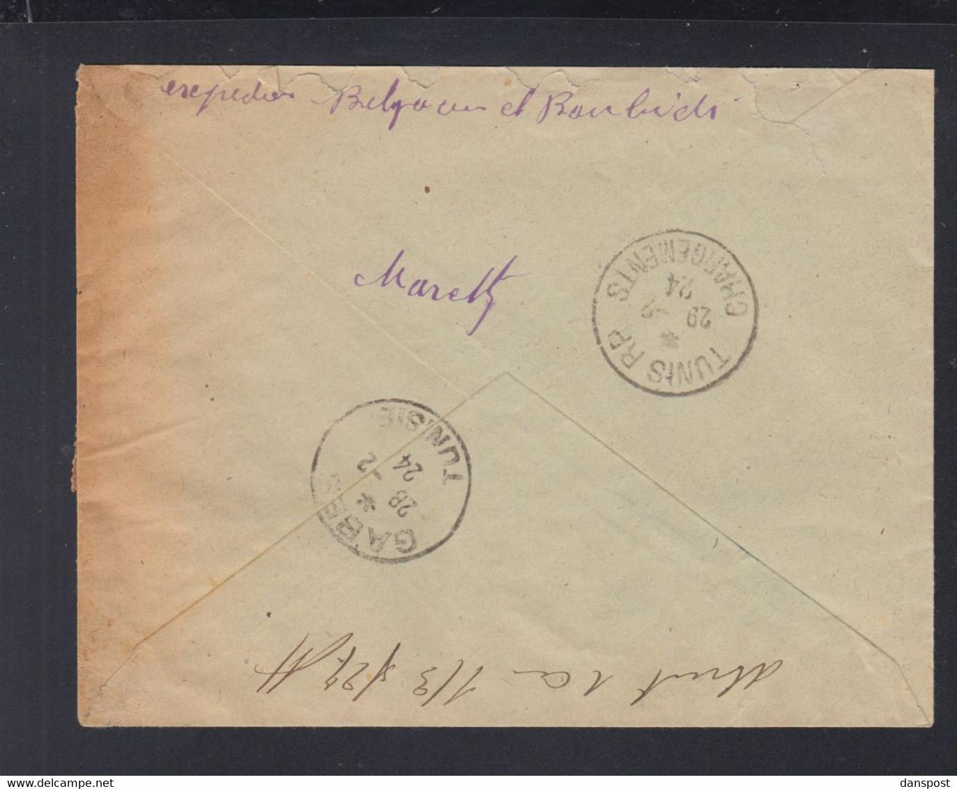 Frankreich France Tunisie R-Brief 1924 Mareth - Briefe U. Dokumente
