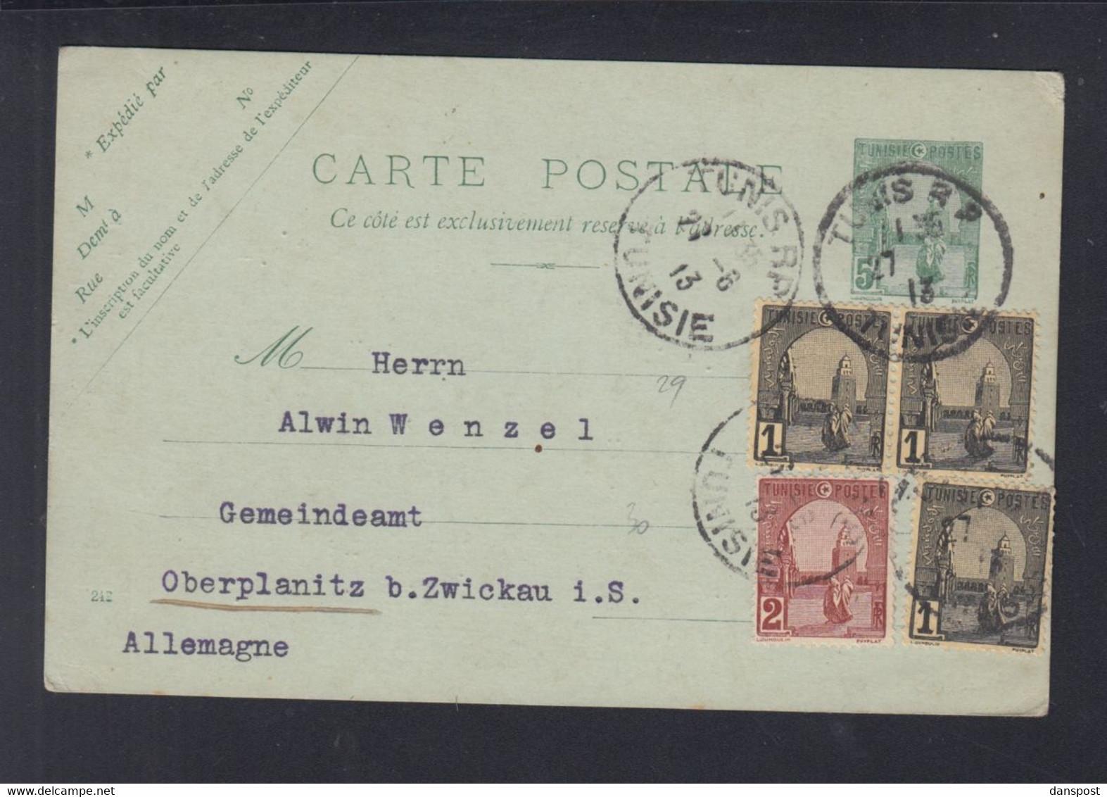 Frankreich France Tunisie GSK Mit ZuF 1913 Tunis Nach Zwickau - Briefe U. Dokumente