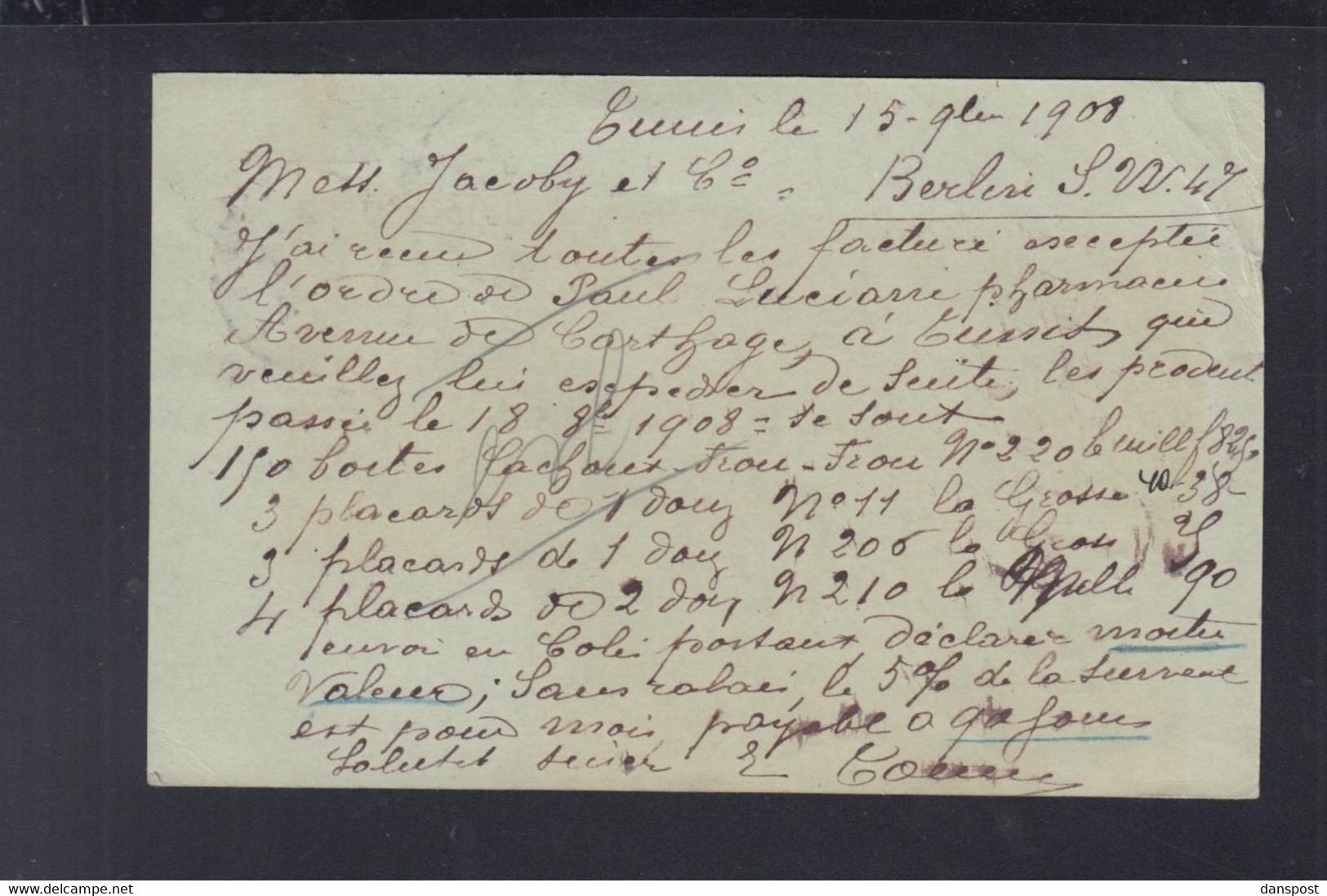 Frankreich France Tunisie GSK Mit ZuF 1908 Tunis Nach Berlin - Briefe U. Dokumente