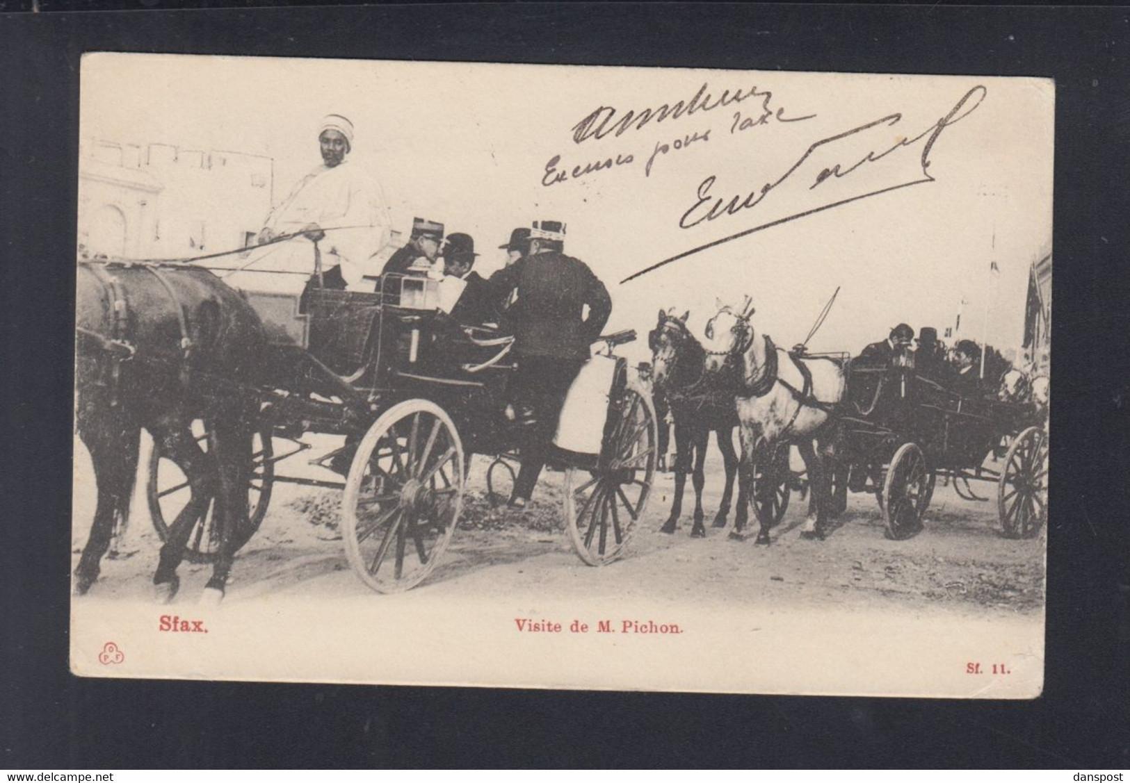 Frankreich France Tunisie AK Sfax Visite De M. Pichon 1905 - Tunesien