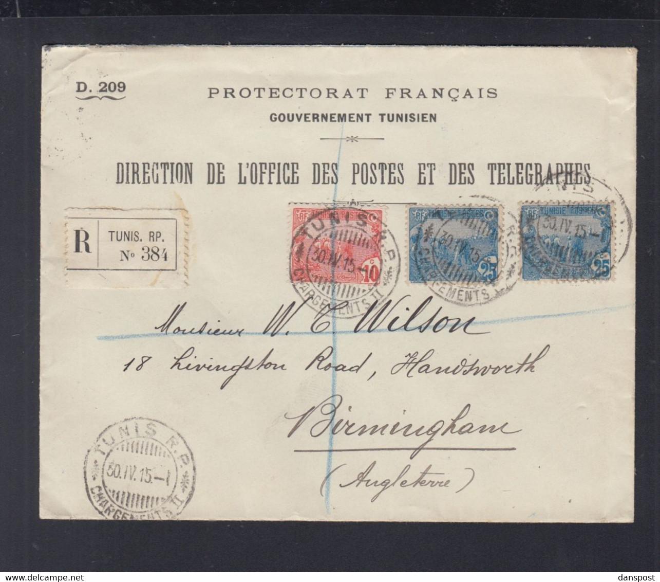 Frankreich France Tunisie R-Brief 1915 Tunis Nach England - Briefe U. Dokumente