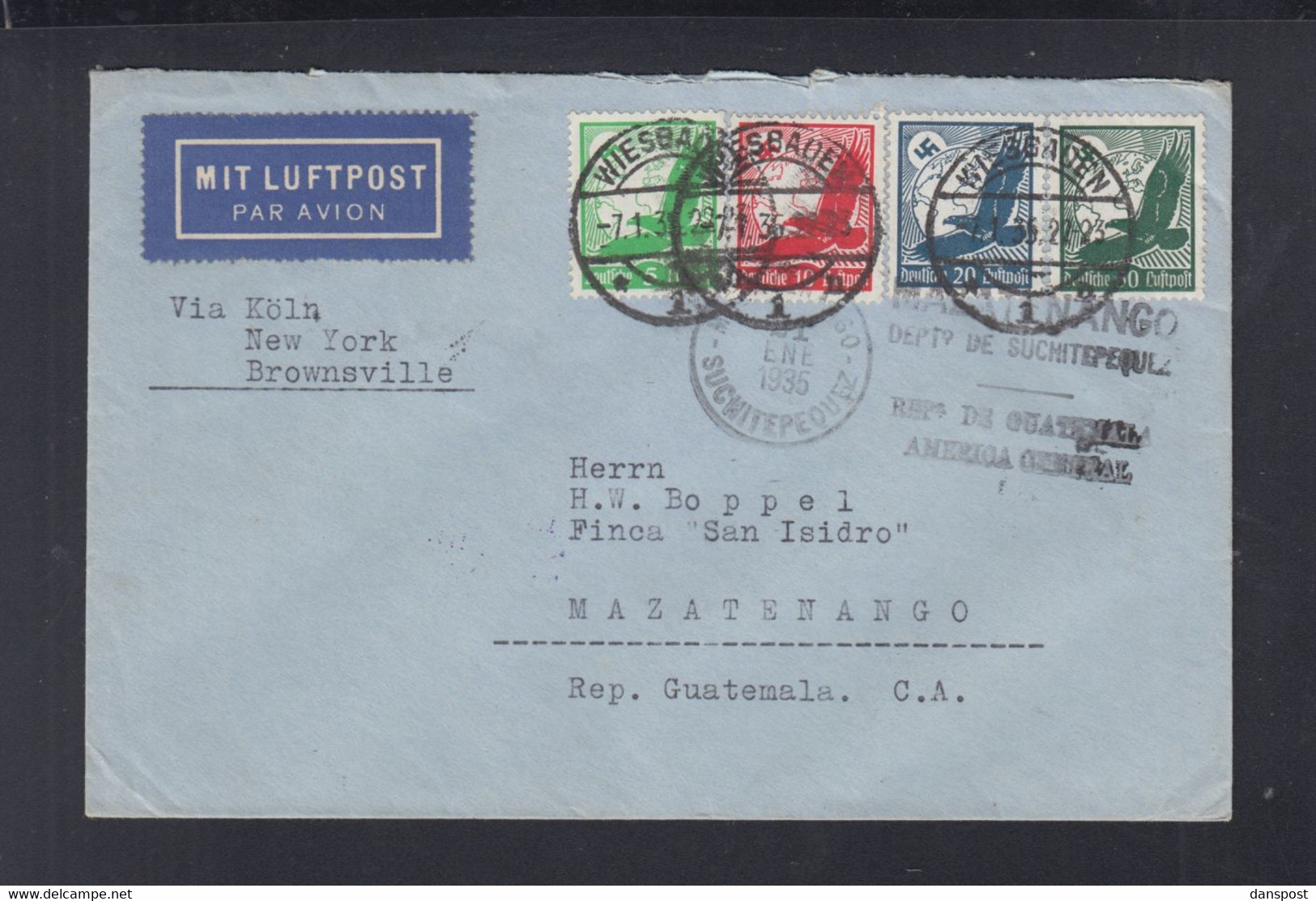 Dt. Reich Flugpost 1935 Wiesbaden Nach Guatemala - Luftpost
